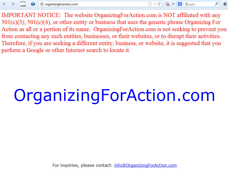 OrganizingForAction.com