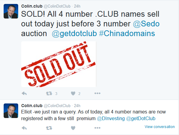 All 4-Number .Club Domains Get Registered By Chinese Registrants And Are Parked